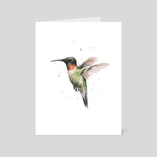 Hummingbird Watercolor by Olga Shvartsur