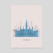 Vienna Travel Poster - Canvas by Deniz Akerman