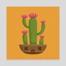 Cactus Feast 3 - Canvas by Irene Buzzi