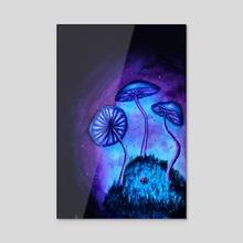 Mushroom Night - Acrylic by Noes Art