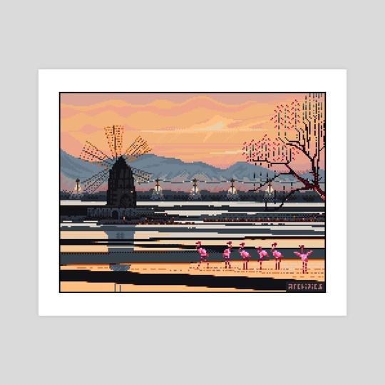 Six Flamingos Pixel Art by Arvey Yudi