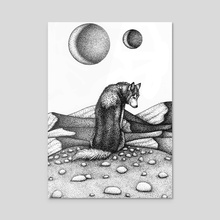 Lone Wolf - Acrylic by ROSITSA GARDJELIYSKA