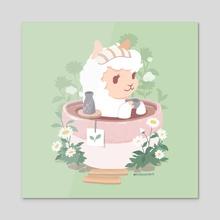 Alpaca in a Gobocha Bath - Acrylic by kitschchris
