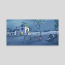 Song for a Summer Night _ Cats and Racoon - Canvas by Qin Leng