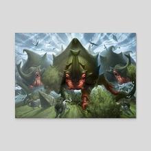Crash of Rhino Beetles - Acrylic by Mike Burns