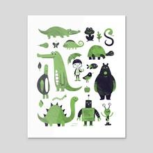 Greens - Acrylic by Greg Abbott
