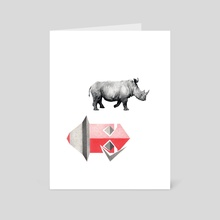 rhino in motion - Art Card by Andrew Clark