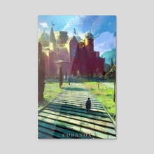 Coranox Interior Illustration: Castle Coranthis - Acrylic by Art @ FifthExile