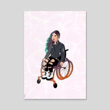 Cool Girl In A Wheelchair (White Ocean) - Acrylic by Menah M