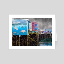 Port Dock One - Newport, Oregon - Art Card by Jason Pedegana