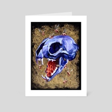 Metallic Purple Cat Skull - Art Card by Kat Powell