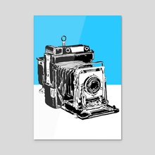 Vintage Graphex Camera in blue - Acrylic by Aiden James