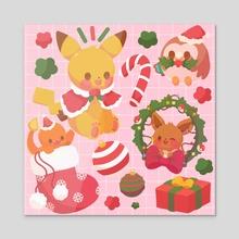 Christmas Pokemon - Acrylic by Puffychi