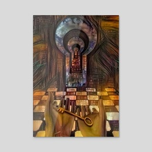 Unlock Knowledge. Mystic keyhole in the wall - Acrylic by Bruce Rolff