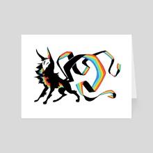 Rainbow Ribbon Kitsune Print - Art Card by Diana Chan
