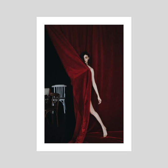 Photo of a naked girl on a red background 3 by Kseniya Lokotko