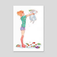 Half Rabbit, Half Pig - Acrylic by NANA Nakano