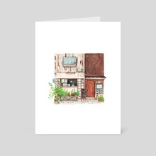 95. Cat Cafe in Kyoto - Art Card by Justine Wong