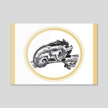 Baby Iguana - Acrylic by Polina Gorbunova