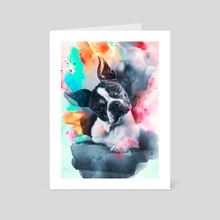 Boston Terrier - Art Card by Visuals Artwork