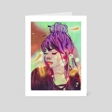 colorful girl - Art Card by Zeren Dogan