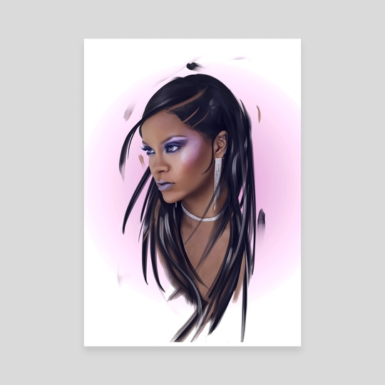 Rihanna white by Andy Art