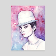 Audrey Hepburn Fashion Watercolor - Canvas by Olga Shvartsur