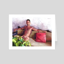 Red Pillow - Art Card by Douglas Simonson