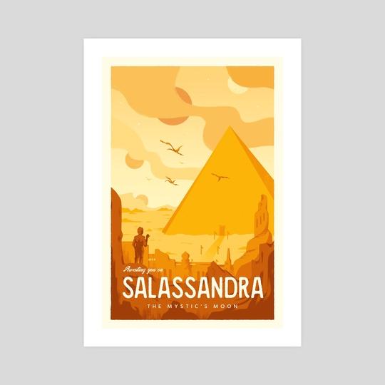 5 Worlds Vintage Travel Poster 4: SALASSANDRA by 5 Worlds