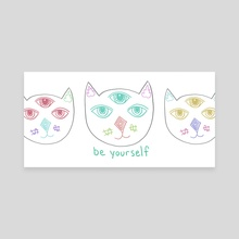 Three Eyed Cool Cat - Canvas by Lesley Kim