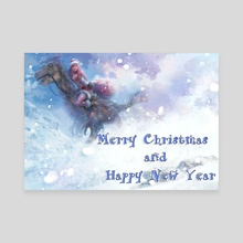 Merry Christmas and Happy New Year  - Canvas by art by Meng