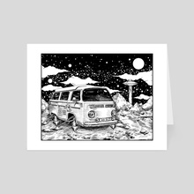 Moon Ride Black and White - Art Card by Corinne Elyse