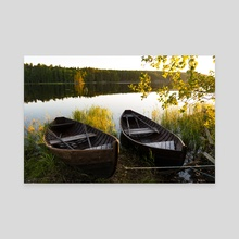 Boats on the river - Canvas by Violetta Derkach