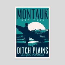 montauk ditch plains vintage travel poster - Canvas by matt schnepf