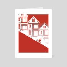 Biking in San Francisco: Painted Ladies - Art Card by Chris Cerrato