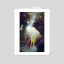 LandScape of a distant land-A wizard taking his dog out for a walk - Art Card by Antony Siganakis