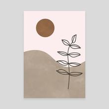 Sun, Leaf, Abstract, Botanical, Mid Century - Canvas by Ariani Anwar
