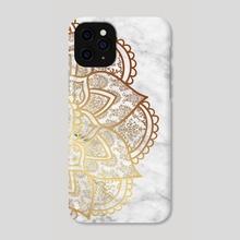 Mandala - Gold & Marble - Phone Case by Alexandre Ibáñez