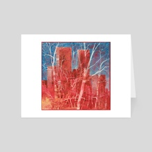 Antiche torri sotto il cielo ceruleo (ancient towers under cerulean sky) - Art Card by Alessandro Andreuccetti