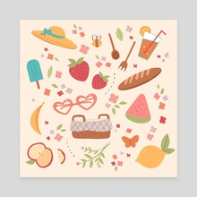 Spring Picnic - Canvas by Karina Perez