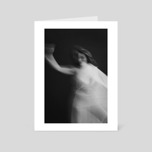 black and white portrait of a naked girl dancing with a cloth 3 - Art Card by Kseniya Lokotko