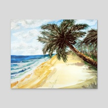 Beach with Palm Trees - Acrylic by Sebastian Grafmann