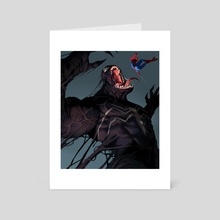 Venom vs Spiderman - Art Card by Jason  Kang
