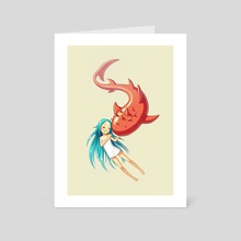 Red Whale - Art Card by Indré Bankauskaité