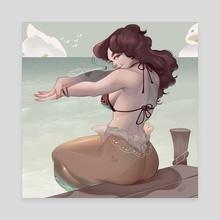 Emerald Sea Mermaid - Canvas by Daniel Daimon
