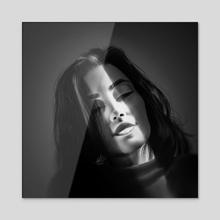 Close your eyes - B&W - Acrylic by Juan Carlos Guzmán