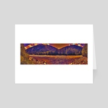 summer sunset and the alpine river - Art Card by bumsable