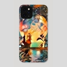 Asian night silhouettes in moon light - Phone Case by Bruce Rolff