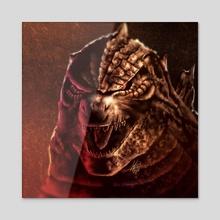 Godzilla's Rage - Acrylic by Juan Carlos Guzmán