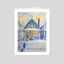 Blue House, North Vancouver - Art Card by Tim Bennison